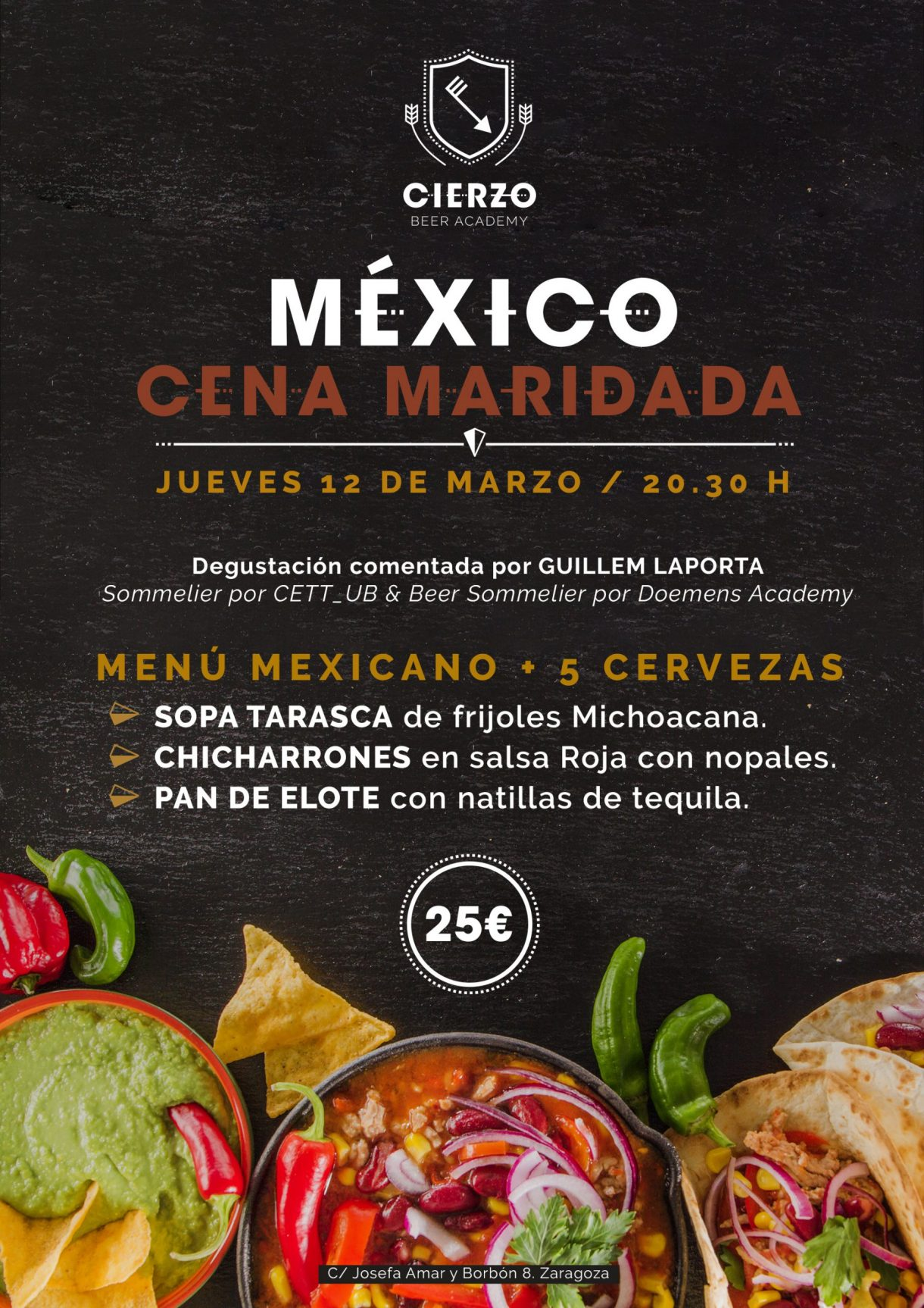 cena mexicana cerveza zaragoza