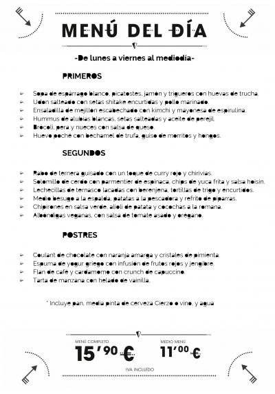 menu del dia restaurante zaragoza